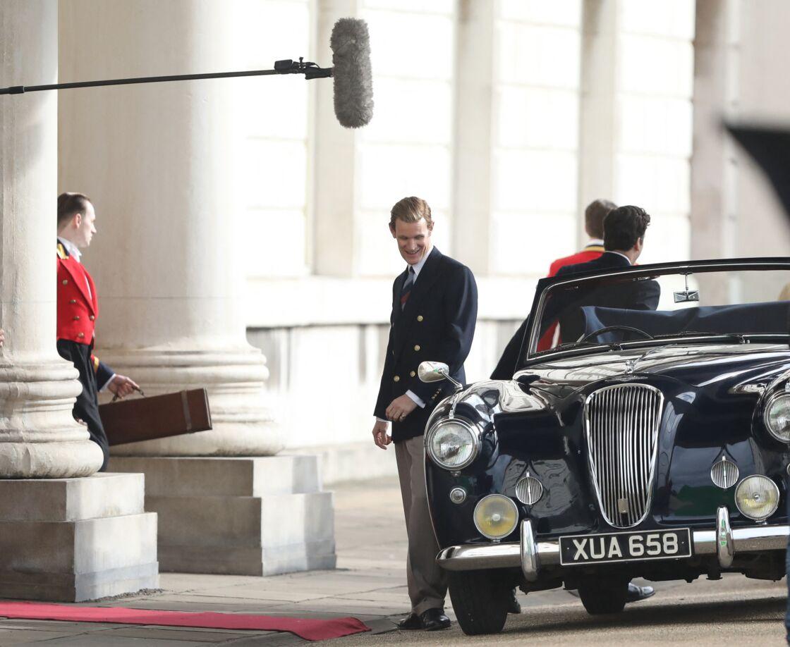 L'acteur britannique Matt Smith, qui incarne le prince Philip, sur le tournage de The Crown.