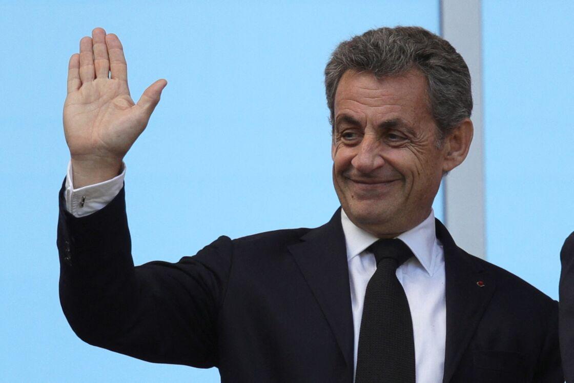 Nicolas Sarkozy dans les tribunes lors du match de coupe de monde de la France contre l'Australie au stade Kazan Arena à Kazan, Russie, le 16 juin 2018.