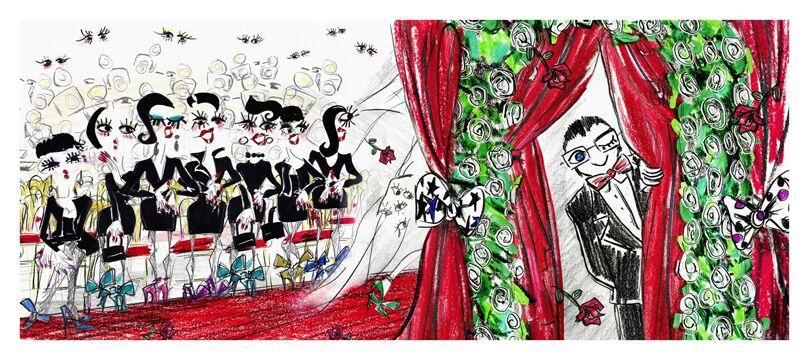 en 2013, Alber Elbaz dessine ses croquis pour customiser le maquillage Lancôme