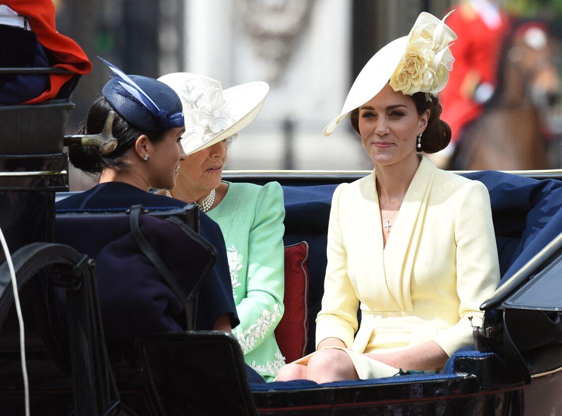 Meghan Markle, Camilla Parker Bowles et Kate Middleton à Londres, le 8 juin 2019