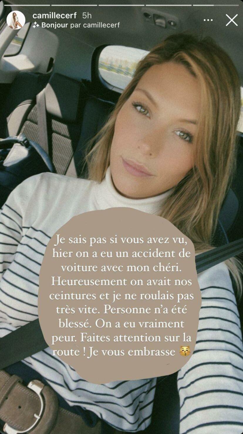 Camille Cerf a donné des nouvelles rassurantes au lendemain de son accident de voiture, dans la story de son compte Instagram, ce mardi 27 avril.