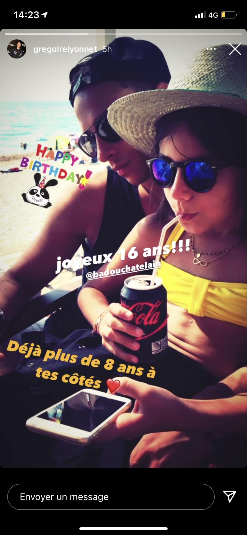 Story postée par Grégoire Lyonnet pour l'anniversaire de la fille d'Alizée, Annily, ce 28 avril 2021