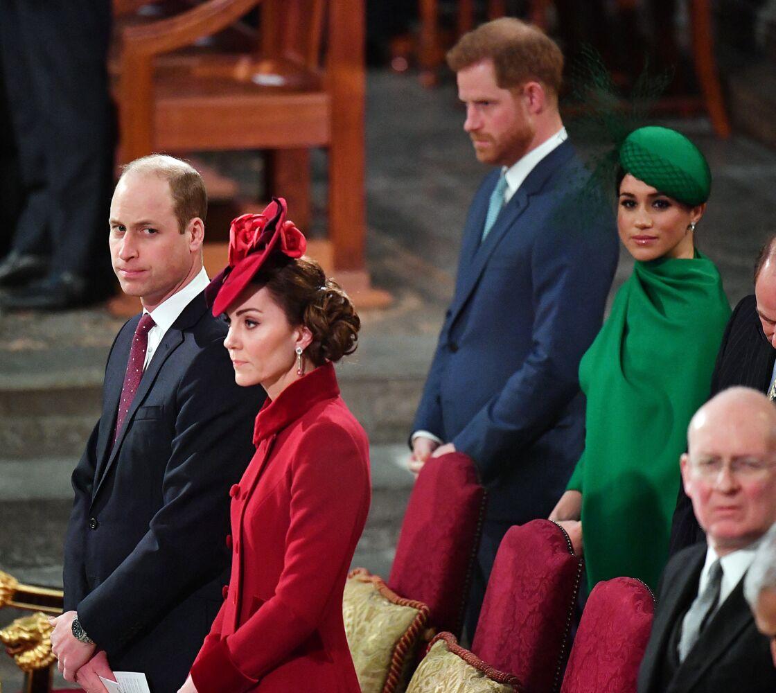 Les princes William et Harry en compagnie de leurs épouses, Kate Middleton et Meghan Markle à Londres le 9 mars 2020