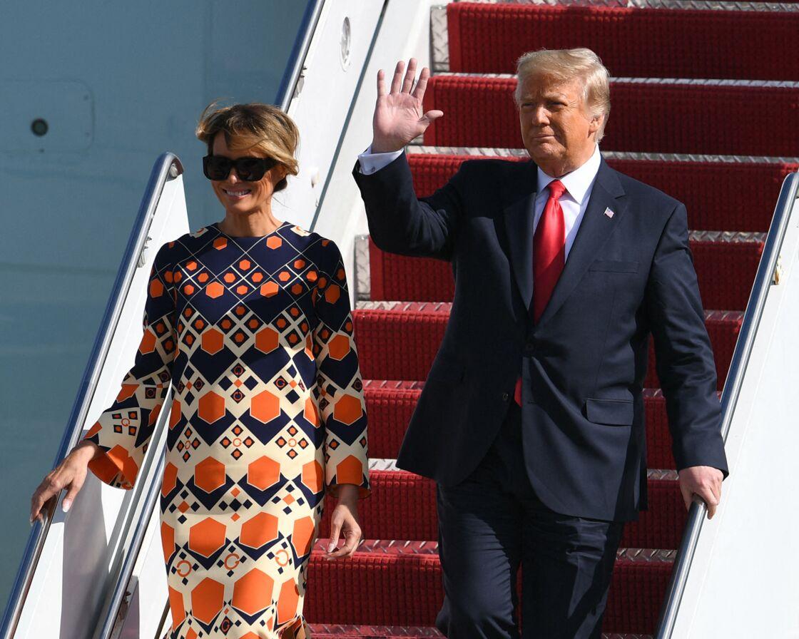 Donald et Melania Trump, le jour de leur arrivée à l'aéroport international de Palm Beach, le 20 janvier 2021.