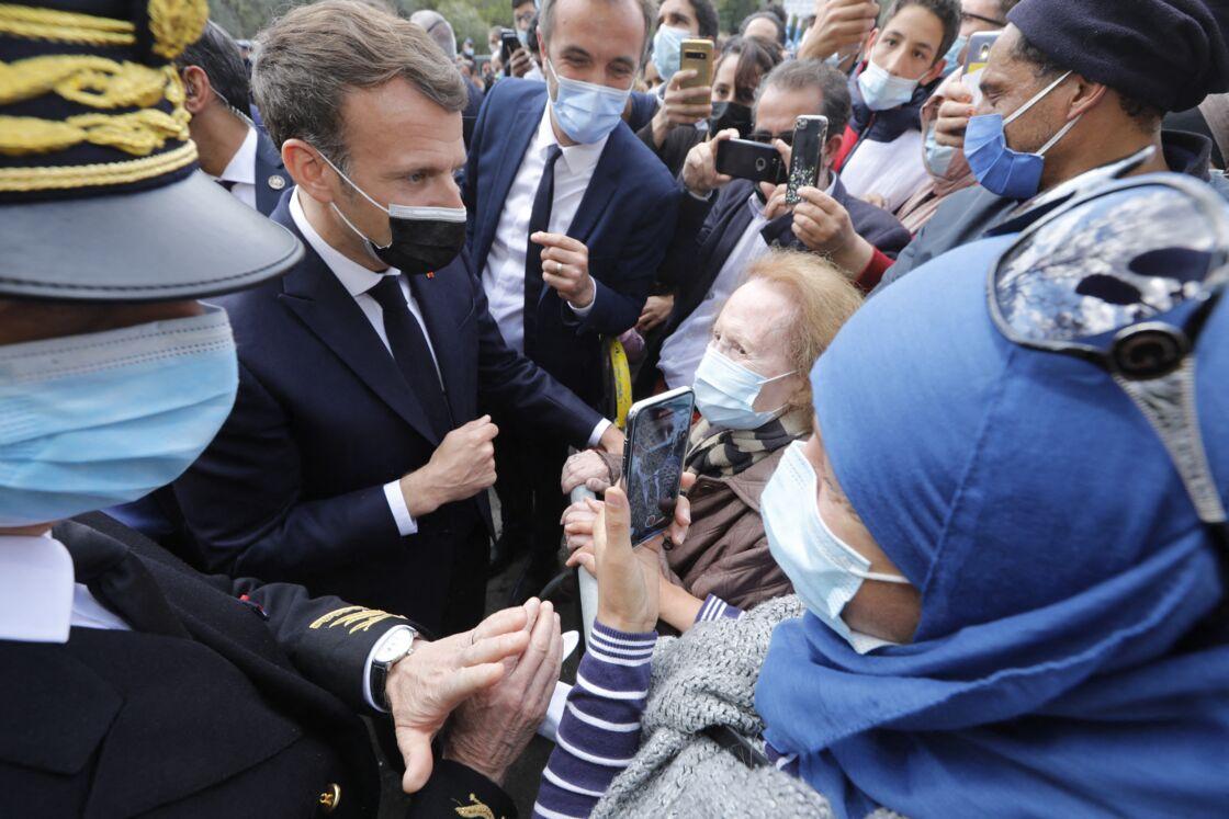 Emmanuel Macron en visite à Montpellier le 19 avril 2021.