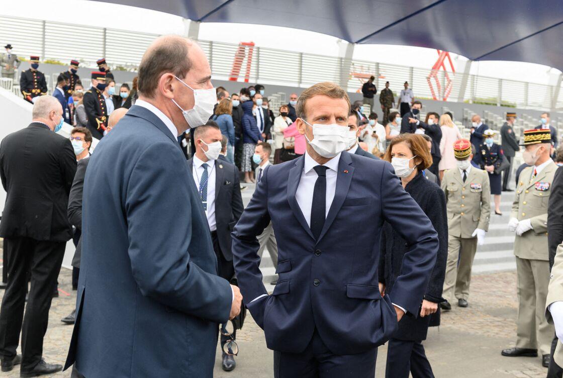 Le premier ministre Jean Castex, au côté du président de la République Emmanuel Macron, lors de la cérémonie du 14 juillet, à Paris, le 14 juillet 2020.