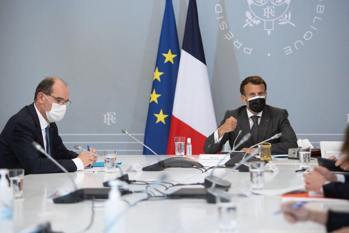 Le Premier ministre Jean Castex et le président de la République Emmanuel Macron le 20 avril 2021