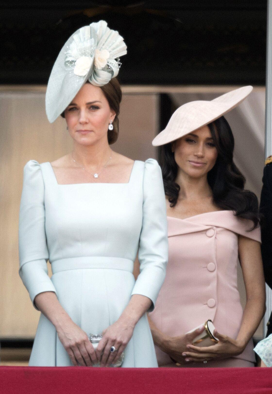 Kate Middleton et Meghan Markle à Londres en juin 2018, au balcon de Buckingham Palace