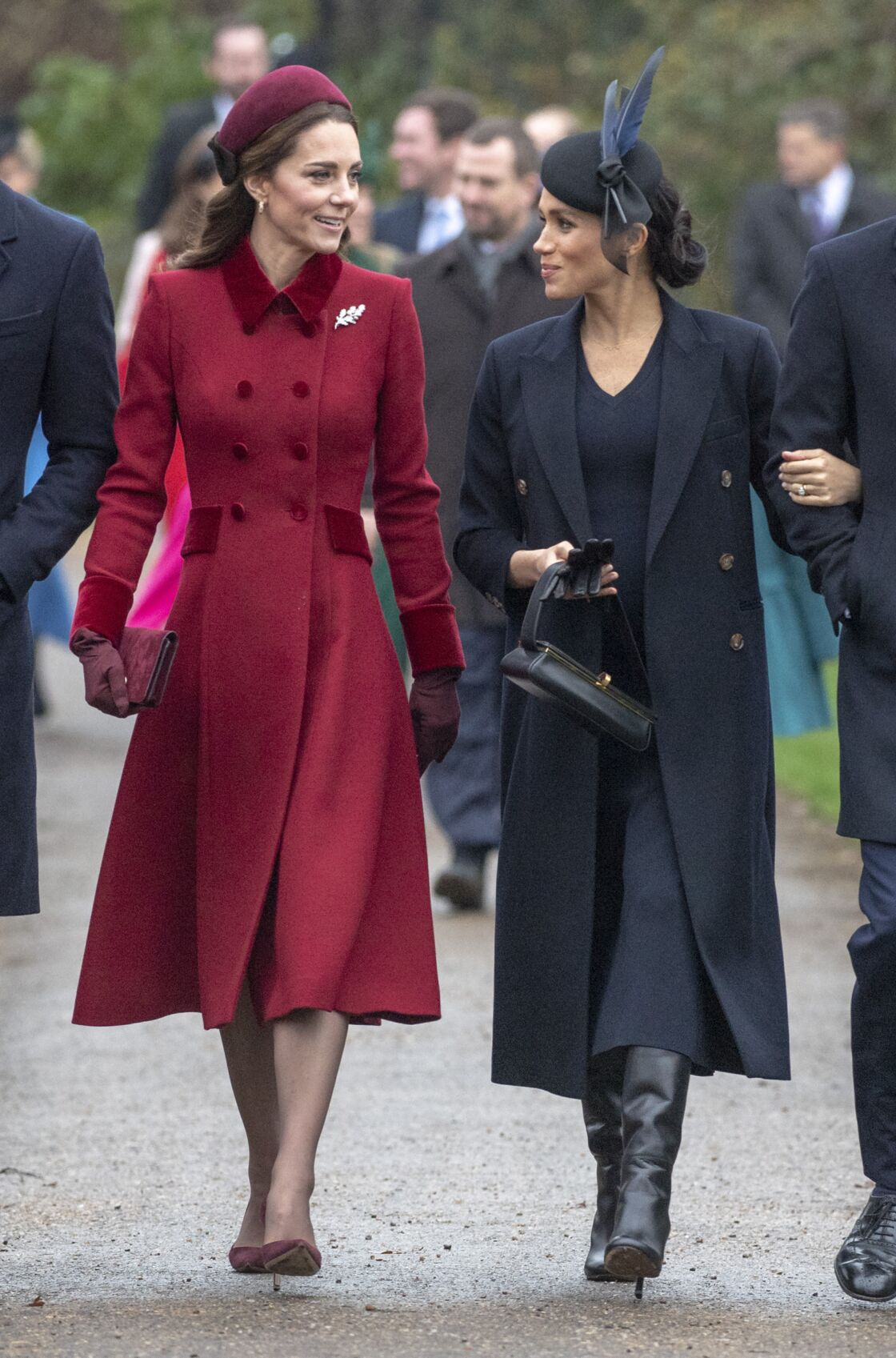 Kate Middleton et Meghan Markle, en décembre 2018, à Sandringham pour le jour de Noël