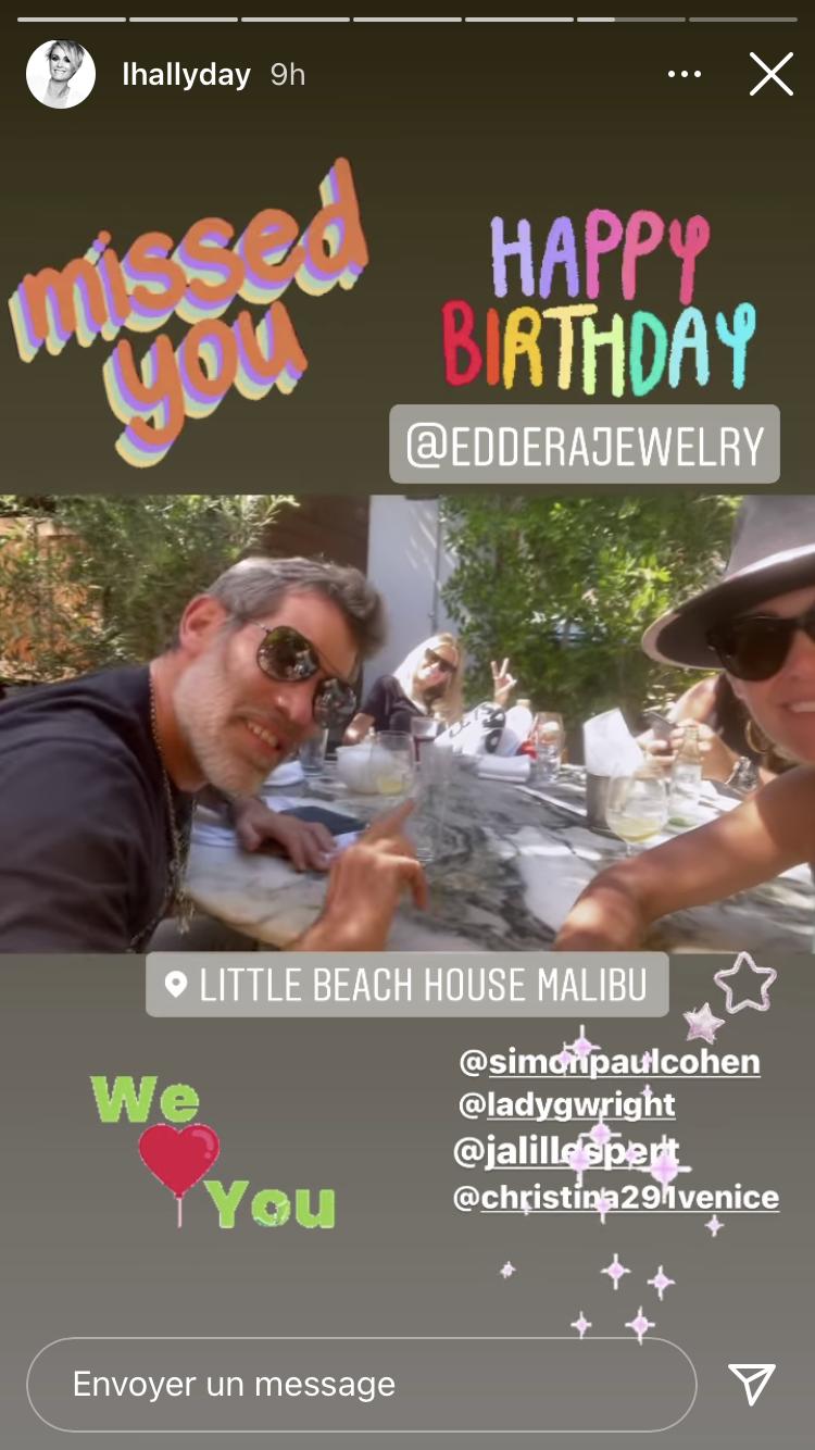 Laeticia Hallyday et Jalil Lespert à Little Beach House, à Malibu, en mai 2021