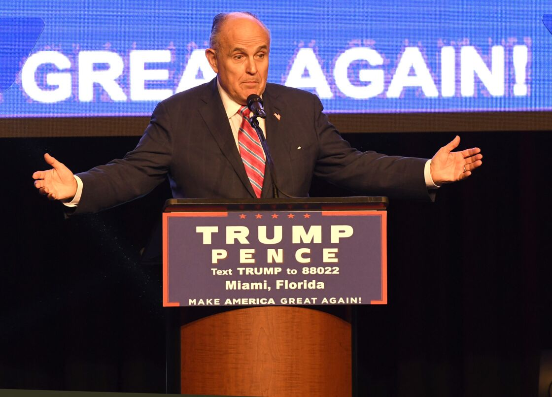 Rudy Giuliani lors d'un meeting de Donald Trump à Miami le 16 septembre 2016
