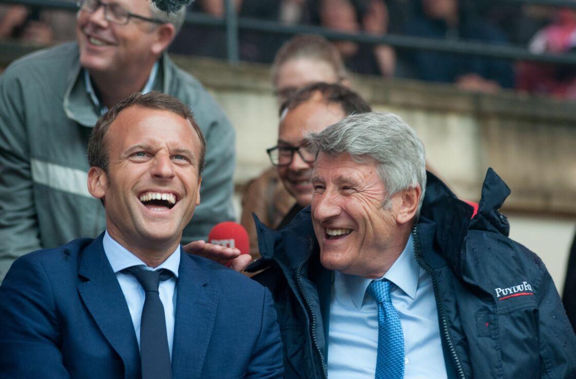 Emmanuel Macron et Philippe de Villiers au Puy du Fou en août 2016.