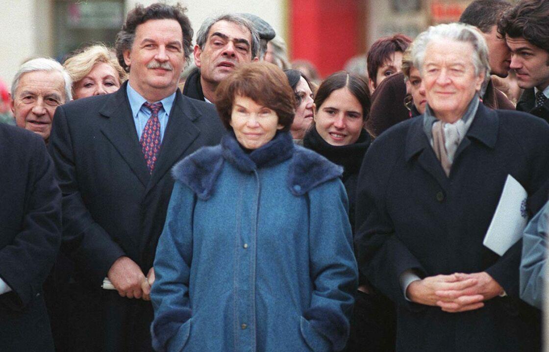 Hommage à François Mitterrand à Jarnac, avec Mazarine Pingeot, Danielle Mitterrand et Robert Mitterrand, le 2 janvier 1997