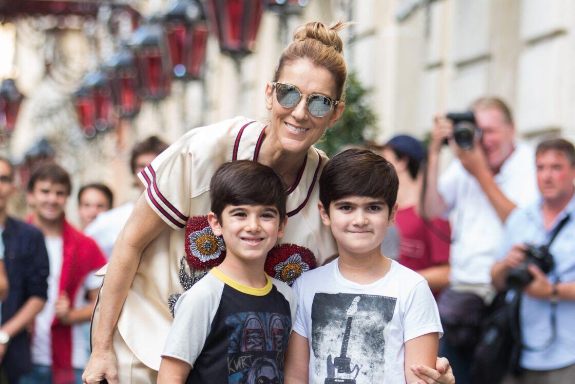 Céline Dion et ses jumeaux en 2017