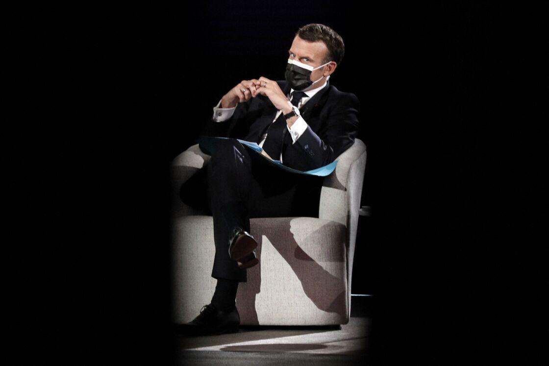 Le président de la république Emmanuel Macron, le président du parlement européen, David Sassoli, Ursula von der Leyen et le premier ministre du Portugal, António Luis Santos da Costa pour la journée de l'Europe au parlement européen de Strasbourg, le 9 mai 2021.