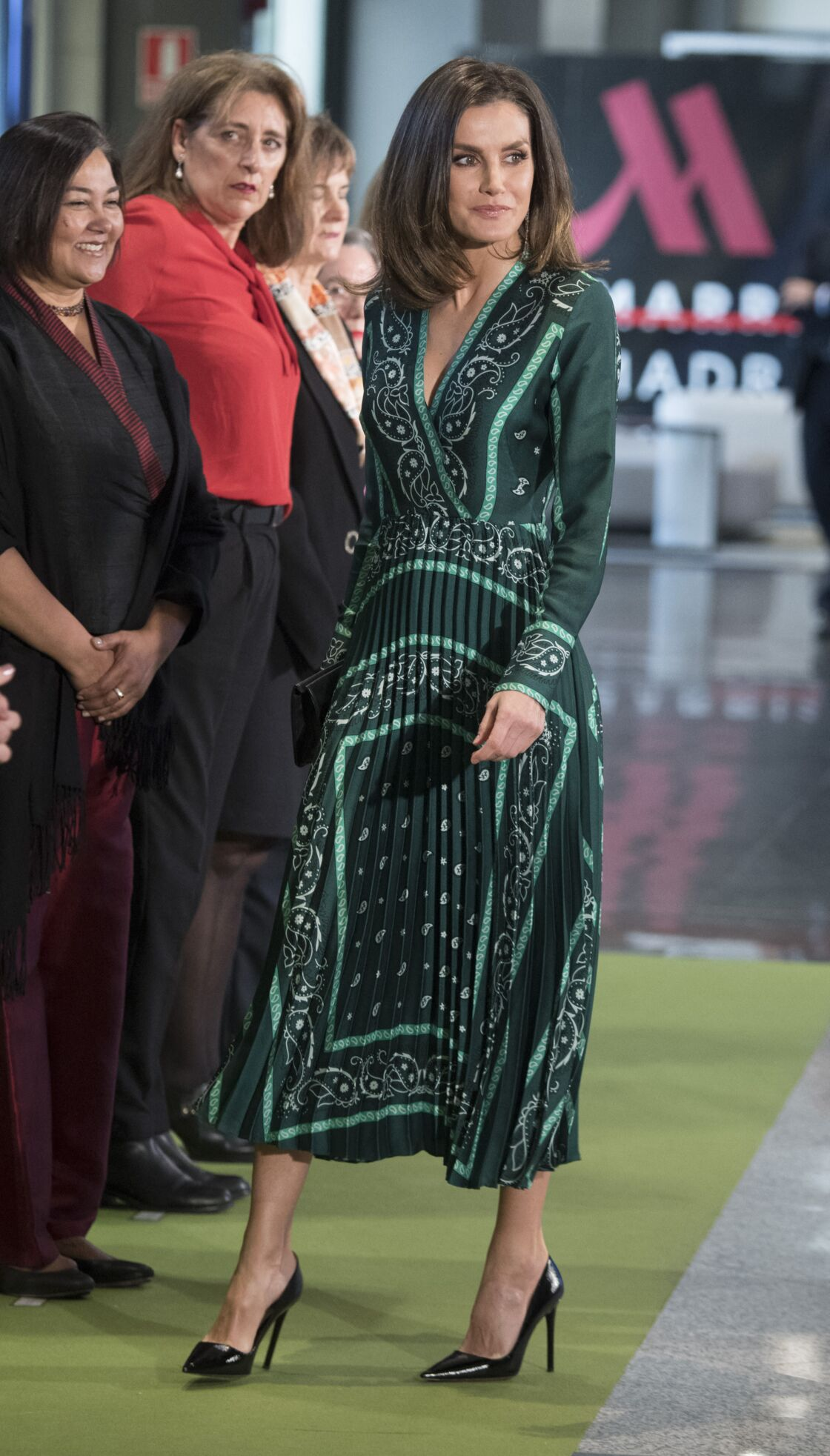 Letizia d'Espagne avec sa robe Sandro, portée pour la première fois en décembre 2018