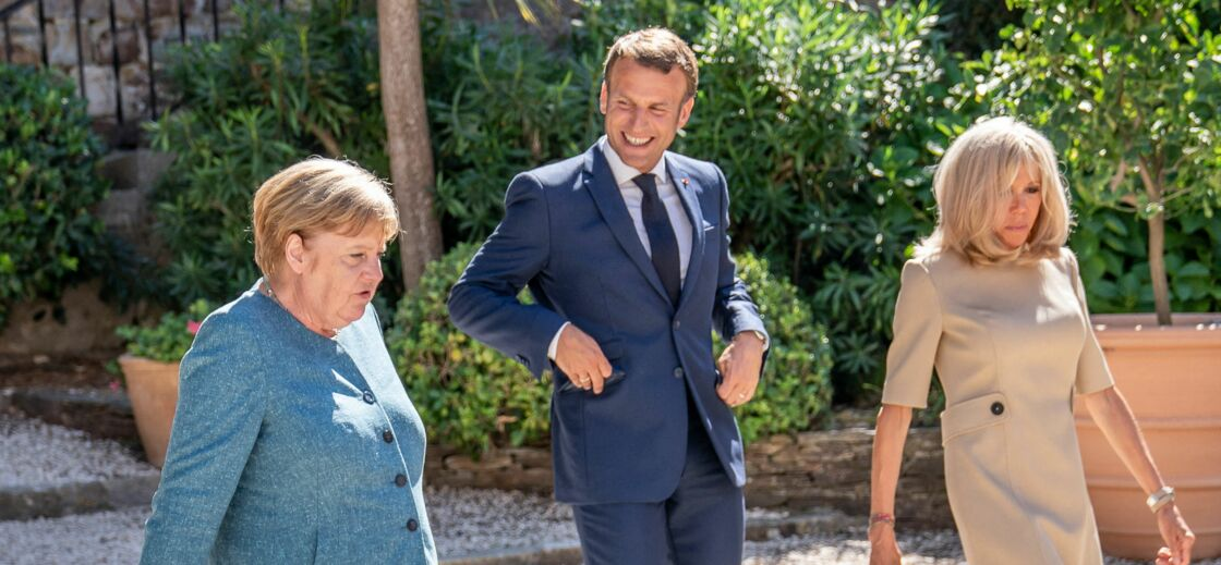 Angela Merkle en compagnie de Brigitte et d'Emmanuel Macron
