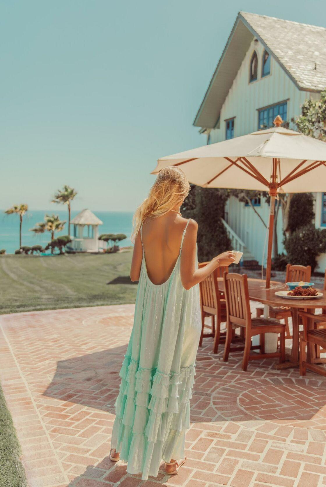 Robe dos-nu bleue ciel Sundress printemps-été 2021