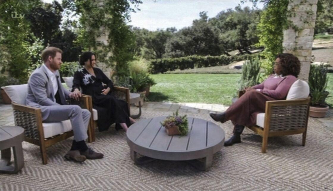 Meghan Markle et le prince Harry lors de leur interview avec Oprah Winfrey