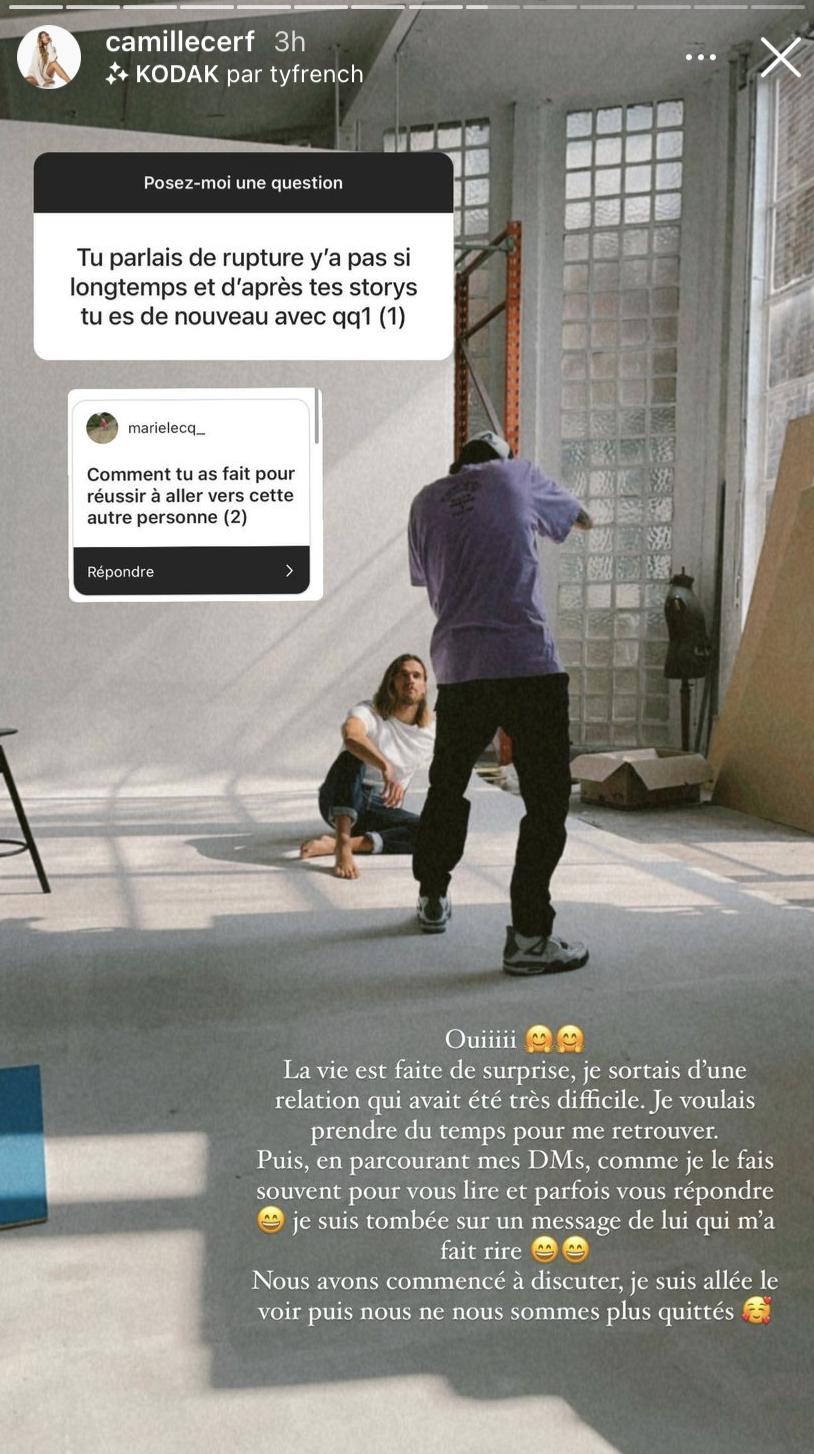 Camille Cerf en dit plus sur son petit ami, lors d'un questions/réponses sur Instagram, le 17 mai 2021