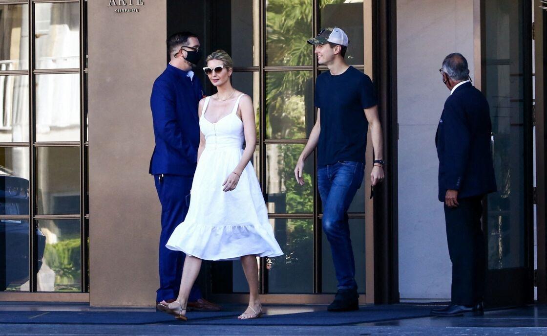 Ivanka Trump et son mari Jared Kushner se rendant dans leur propriété de Bay Harbor Island à Miami, le 11 février 2021