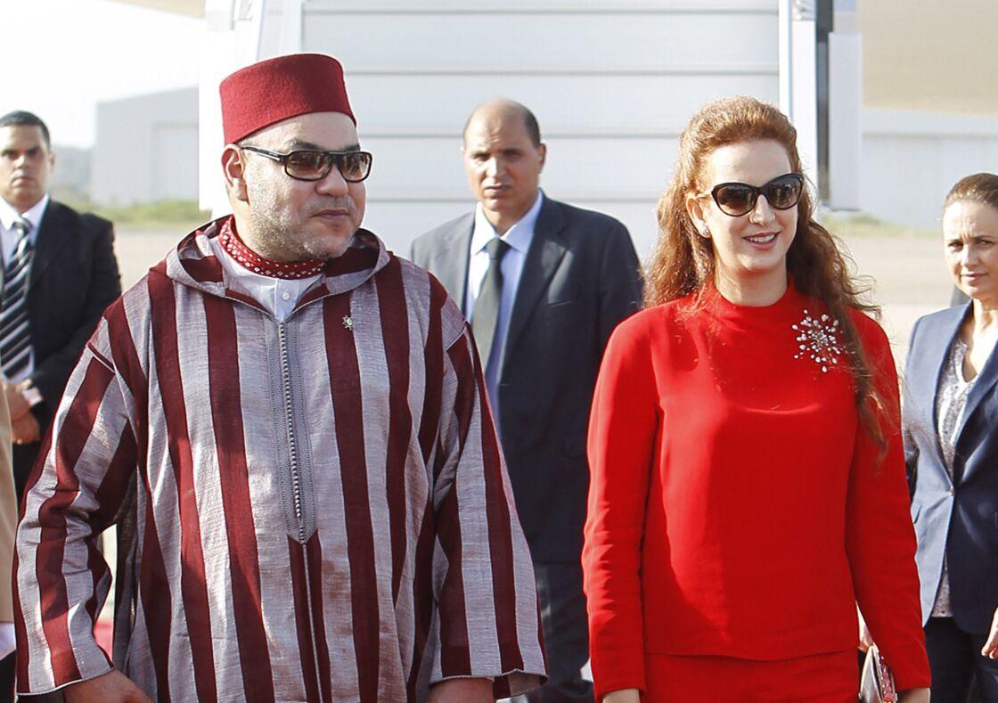 Le roi Mohammed VI du Maroc avec Lalla Salma, lors de la visite du roi Felipe VI et de la reine Letizia au Maroc, en 2014.