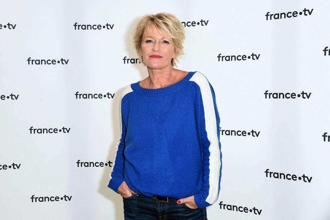 Sophie Davant lors de la conférence de presse du Téléthon 2018, dans les locaux de France Télévisions, à Paris, le 8 novembre 2018.