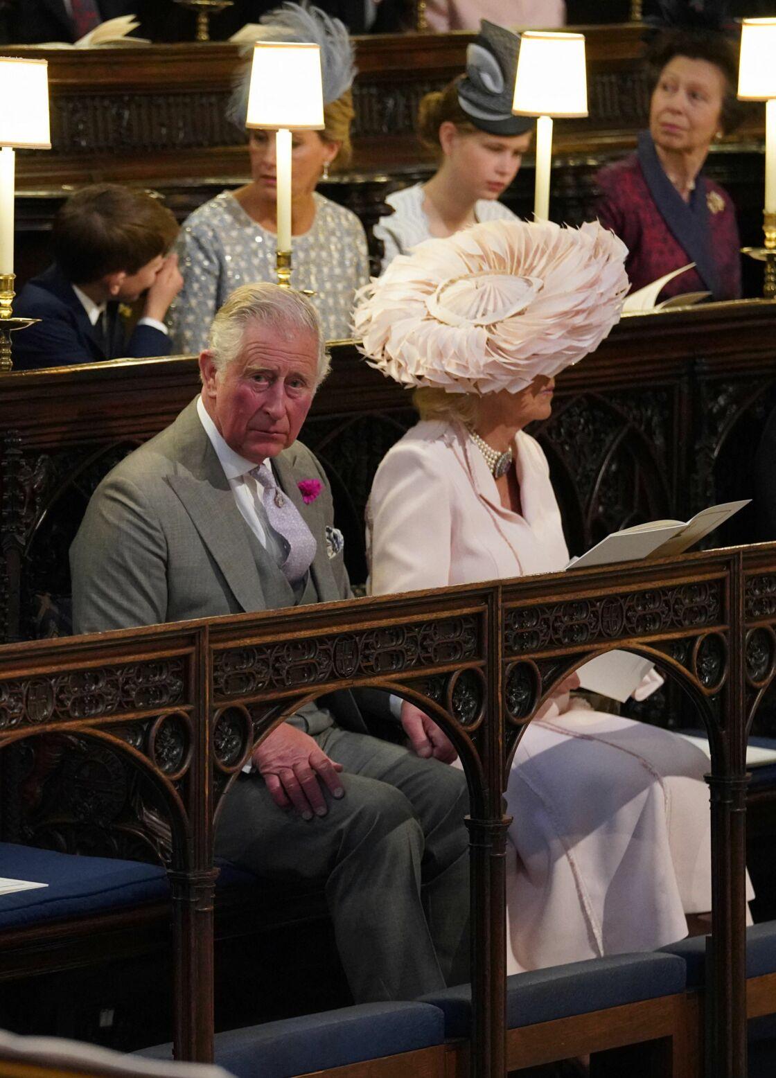 Le prince Charles et Camilla Parker Bowles lors du mariage d'Harry et Meghan Markle, le 19 mai 2018, à Windsor