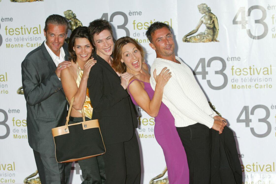David Brécourt, Adeline Blondieau, Bénédicte Delmas, Shirley Bousquet et Frédéric Deban lors du 43ème festival de télévision de Monte-Carlo, en 2017.