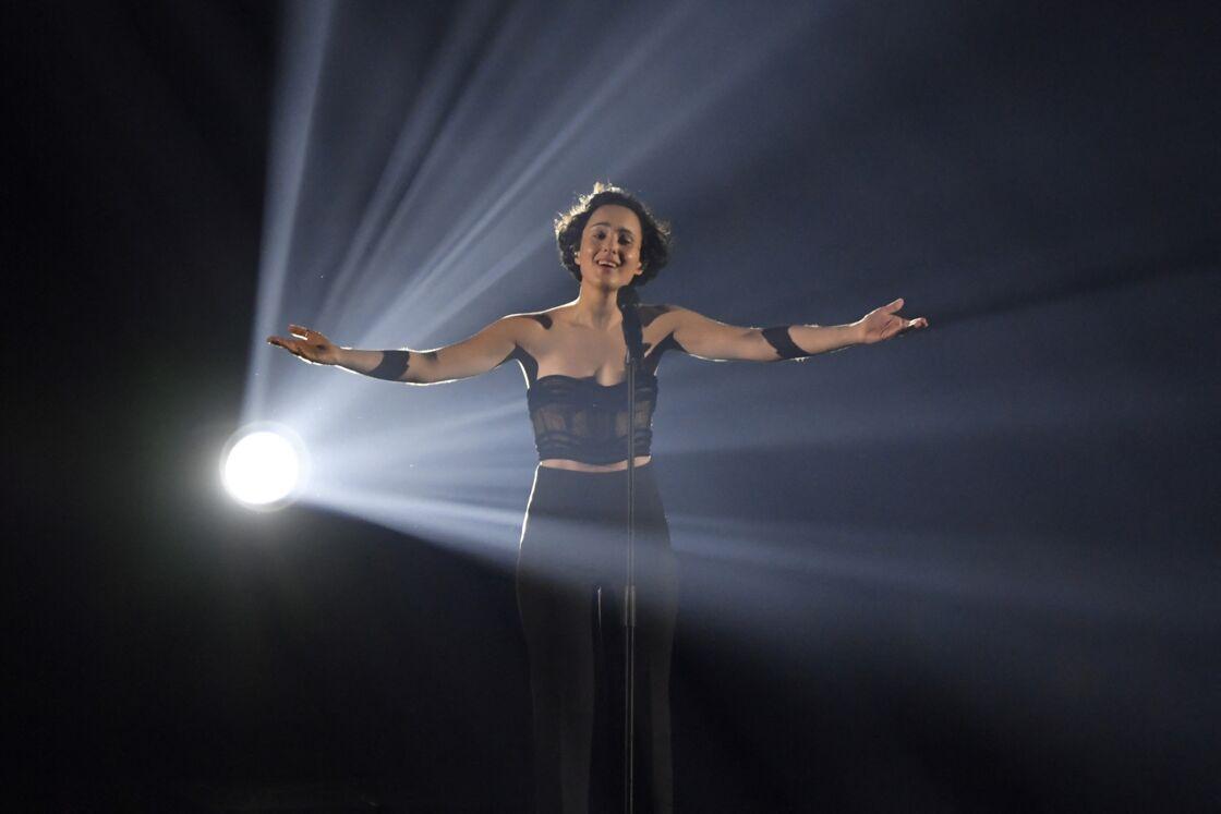 Barbara Pravi lors des répétitions de l'Eurovision 2021 à Rotterdam le 21 mai.
