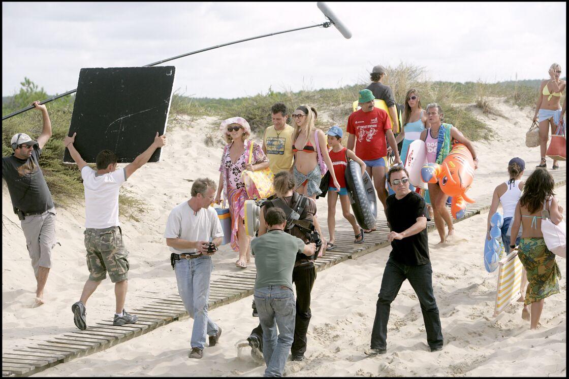 Frédérique Bel sur le tournage du film Camping en 2005