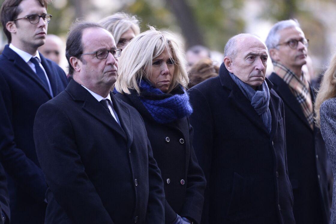 François Hollande, Brigitte Macron, Gérard Collomb, ministre de l'interieur - Bataclan - Commémoration du second anniversaire des attentats du 13 novembre 2015 à Paris le 13 novembre 2017.