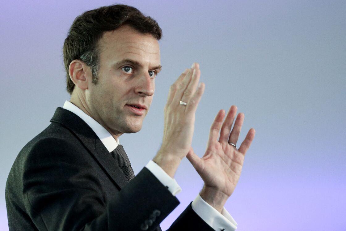 Le président de la république, Emmanuel Macron fait un discours en l'honneur de la communauté française à Johannesburg, Afrique du Sud. Le 29 mai 2021.