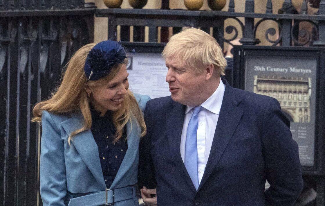 Le Premier ministre britannique Boris Johnson et sa compagne Carrie Symonds - La famille royale d'Angleterre à la sortie de la cérémonie du Commonwealth en l'abbaye de Westminster à Londres, le 9 mars 2020.