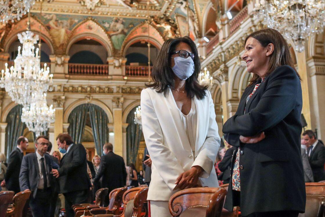 La maire de Paris, Anne Hidalgo et Audrey Pulvar, à l'Hôtel de Ville de Paris le 3 juillet 2020, à Paris