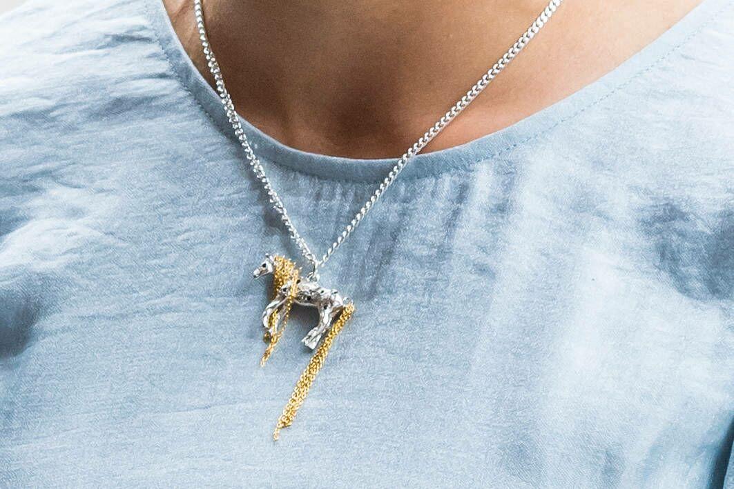Le collier à l'effigie du cheval d'oncle Fred, le cheval de Fifi Brindacier, porté par Victoria de Suède
