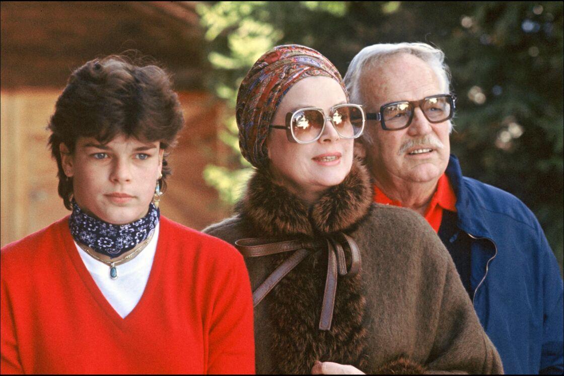 Stephanie de Monaco, le prince Rainier et Grace Kelly, le 3 janvier 1982