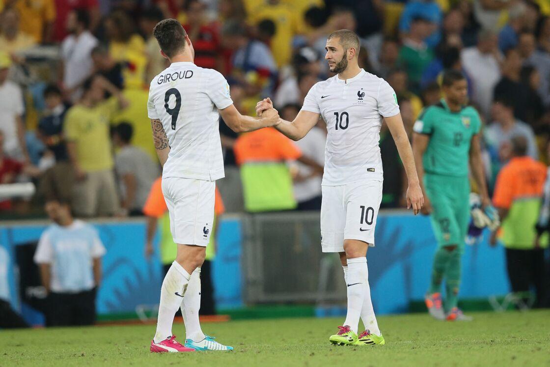 Olivier Giroud et Karim Benzema le 25 juin 2014 au Brésil