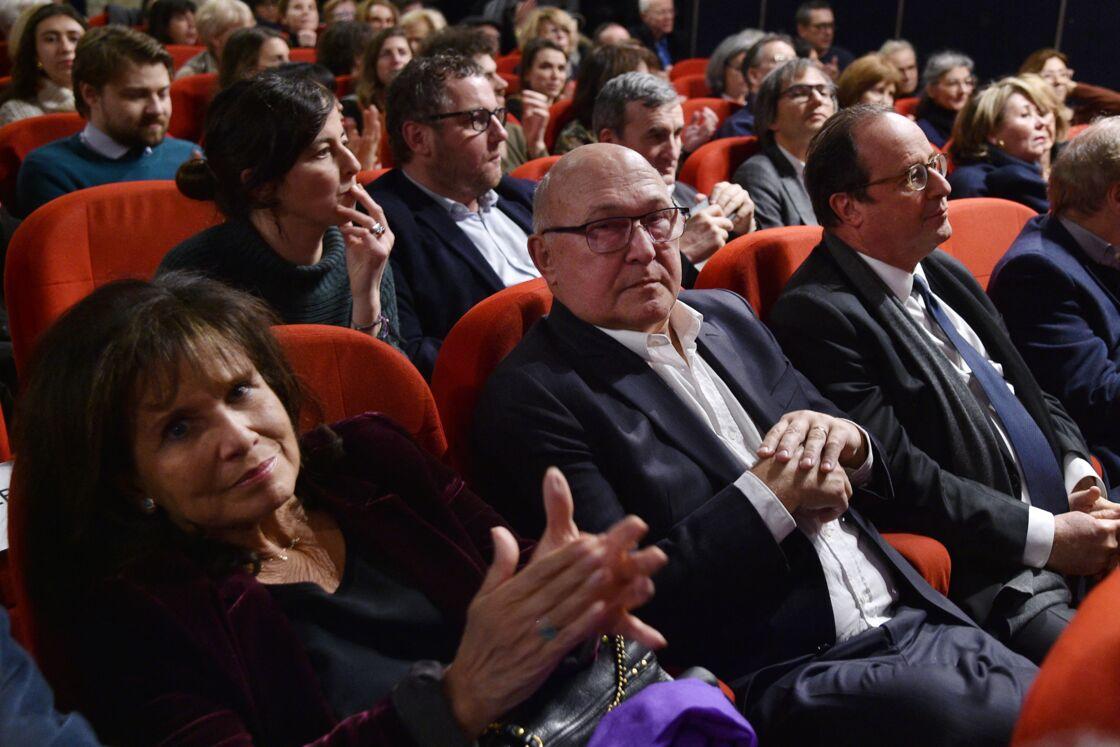 Anne Sinclair, Michel Sapin et François Hollande lors de l'avant-première du film