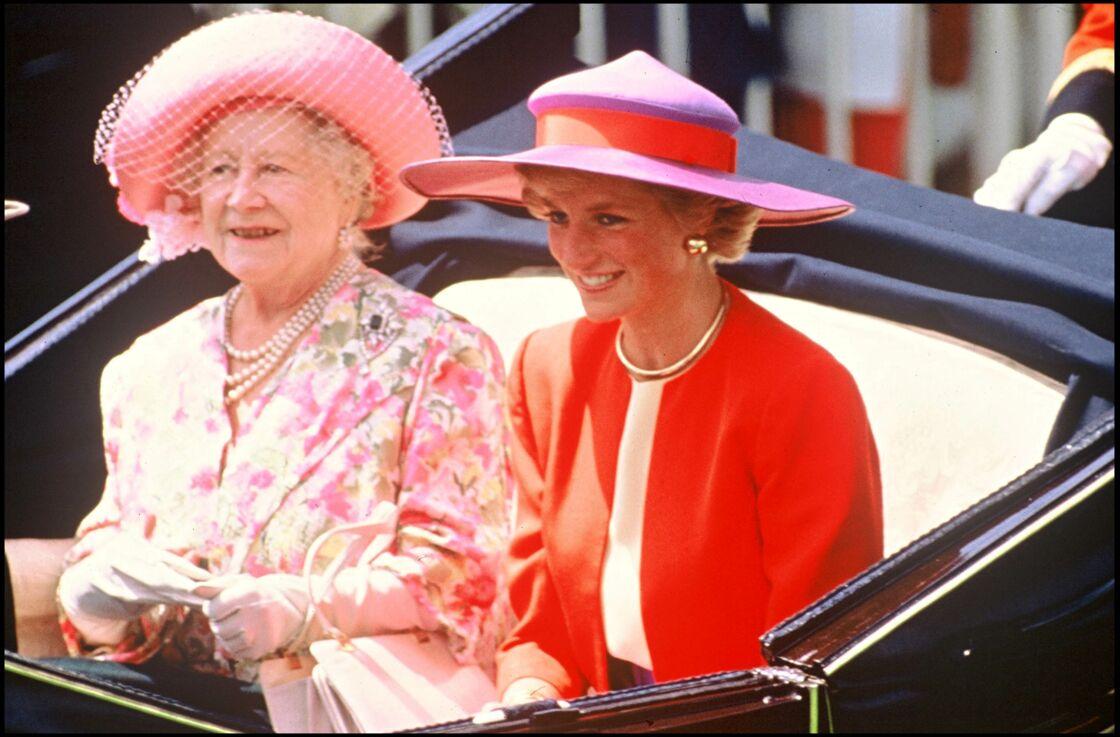 La reine mère et Lady Diana à Ascot le 20 juin 1990