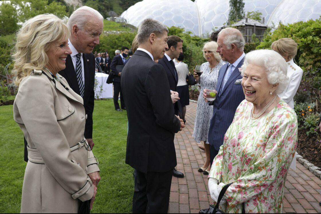 La reine avec Jill et Joe Biden à l'Eden Project