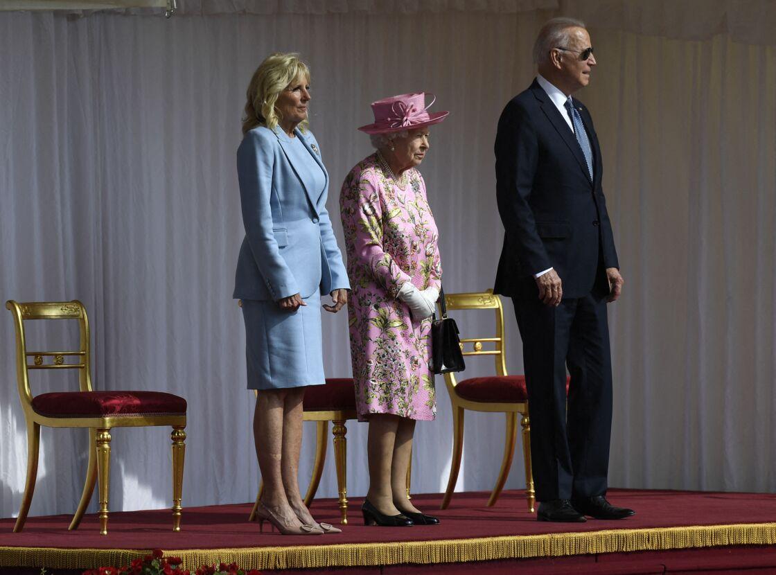 La reine Elizabeth II en compagnie de Jill et Joe Biden
