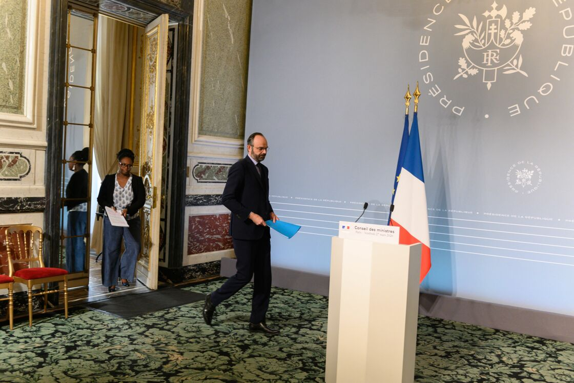 Sibeth Ndiaye et Edouard Philippe en mars 2020.