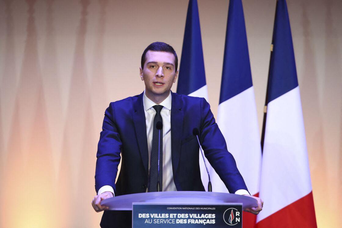 Jordan Bardella lors de la Convention nationale des municipales du Rassemblement National à Paris, en janvier 2020.