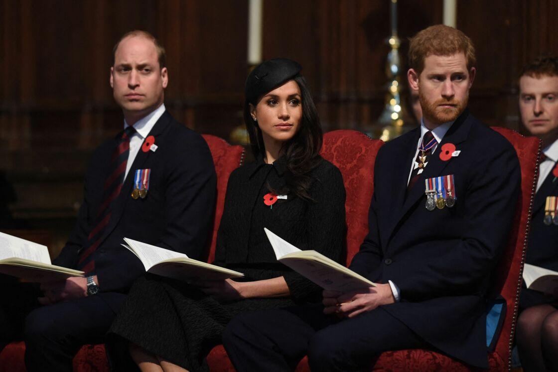 Le prince William, Meghan Markle et le prince Harry lors d'une cérémonie à l'abbaye de Westminster, à Londres, en avril 2018.