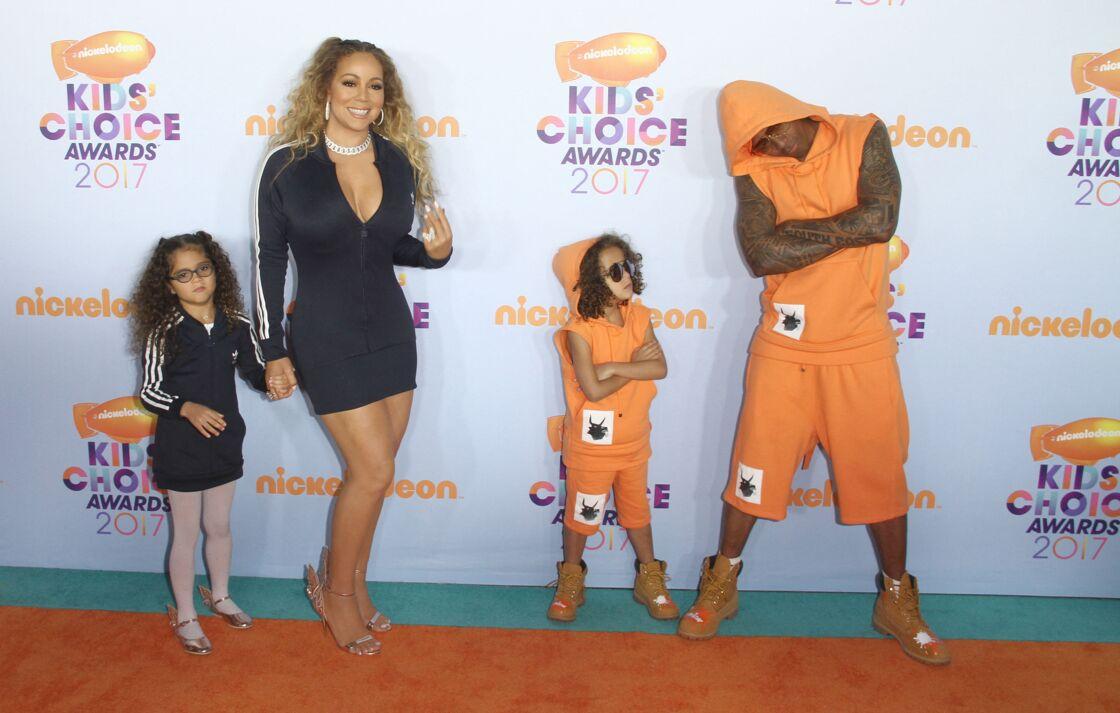 Mariah Carey avec Nick Cannon et leurs jumeaux Moroccan et Monroe en mars 2017.