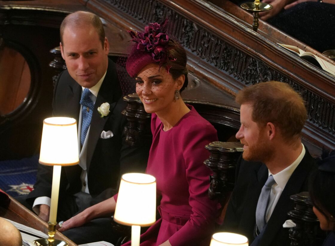 Le prince William, duc de Cambridge, Catherine (Kate) Middleton, duchesse de Cambridge et le prince Harry, duc de Sussex - Cérémonie de mariage de la princesse Eugenie d'York et Jack Brooksbank en la chapelle Saint-George au château de Windsor, Royaume Uni le 12 octobre 2018.