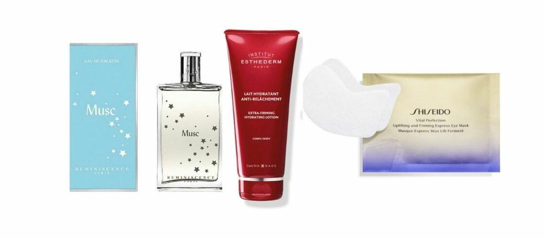 Musc de Réminiscence est son parfum favori, le Lait Hydratant Anti-Relâchement de l'Institut Esthederm, son meilleur allié pour garder une peau ferme, et les patchs yeux et les masques Vital Perfection de Shiseido,