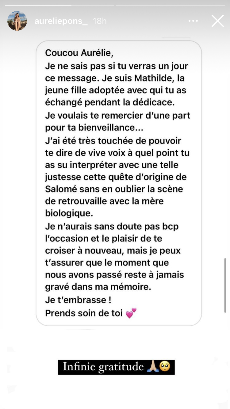 Aurélie Pons partage un message touchant de l'une de ses fans.