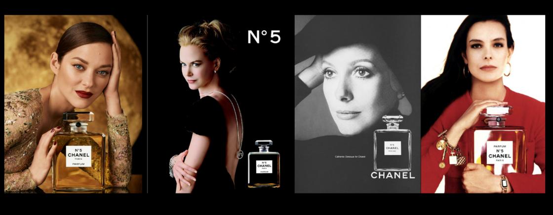 Quatre égéries inoubliables du Chanel numéro 5, Marion Cotillard, Nicole Kidman, Catherine Deneuve et Carole Bouquet.
